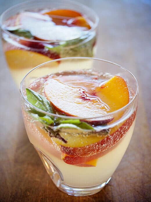 Sangria blanca with lemongrass-ginger simple syrup