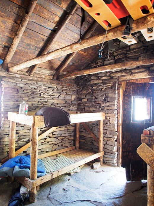 Inside the stone hut
