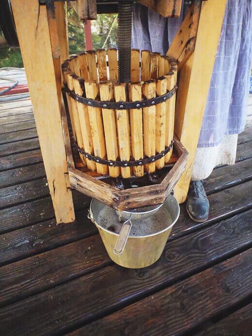 Wooden apple cider press