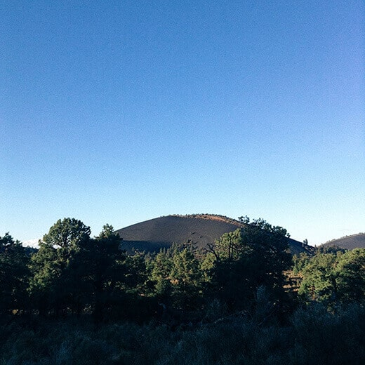 Cinder cone volcano in a ponderosa pine forest