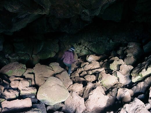 Hiking down into the lava cave