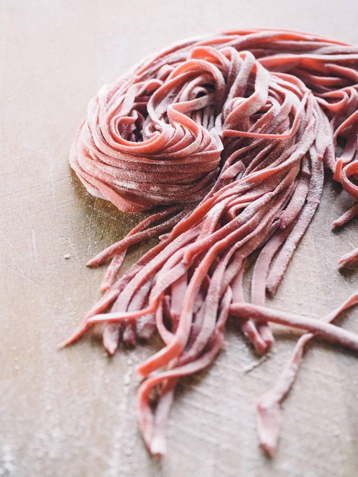 Homemade beet linguini