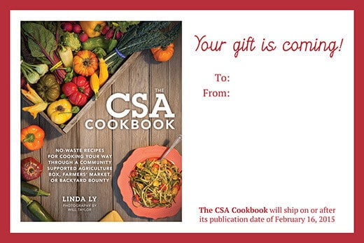 Preordering The CSA Cookbook as a gift? Download a printable IOU postcard