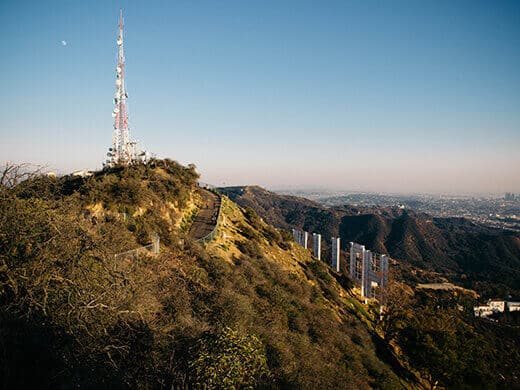 Mount Lee radio tower and Hollywood Sign