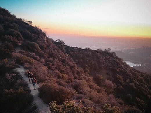 Hiking out at sunset