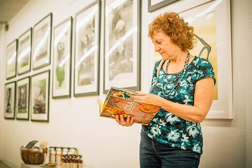 A guest reading The CSA Cookbook