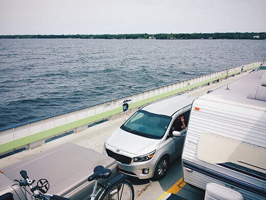 Taking the ferry from Vermont to New York across Lake Champlain