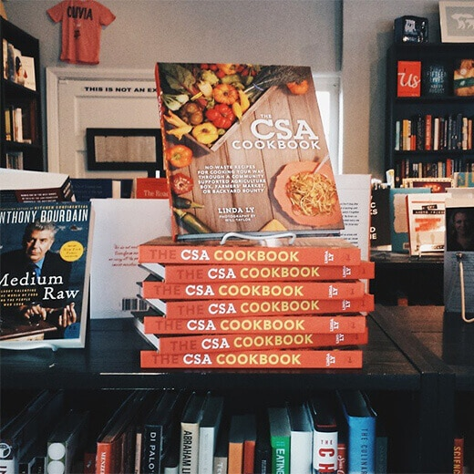 The CSA Cookbook on display at BookBar in Denver, Colorado