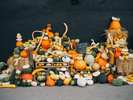 One of many pumpkin displays at the Heirloom Expo