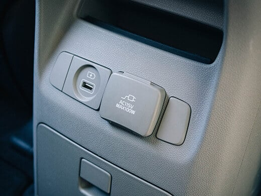 USB and power outlet in the Kia Sedona