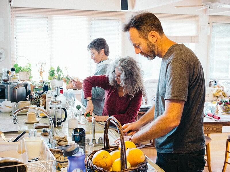 A team effort in the kitchen