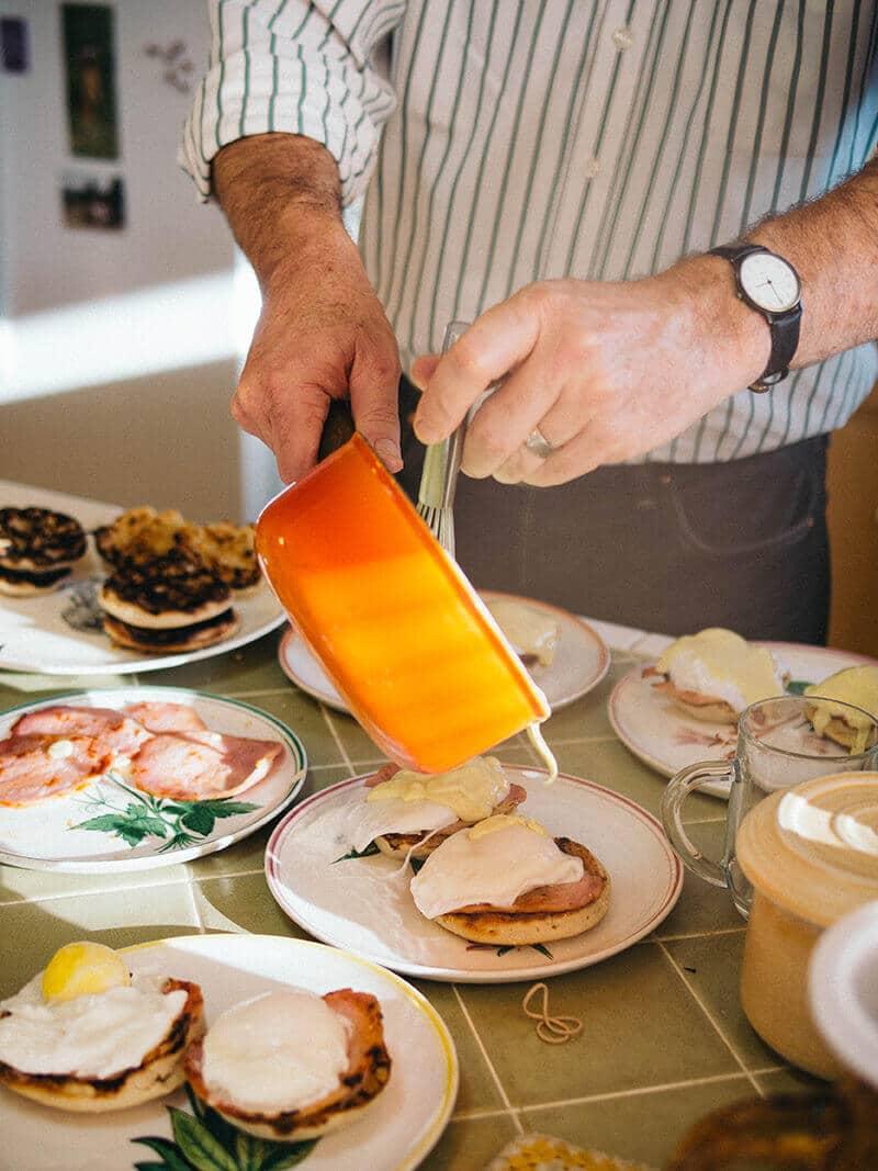 Serving up eggs benedict
