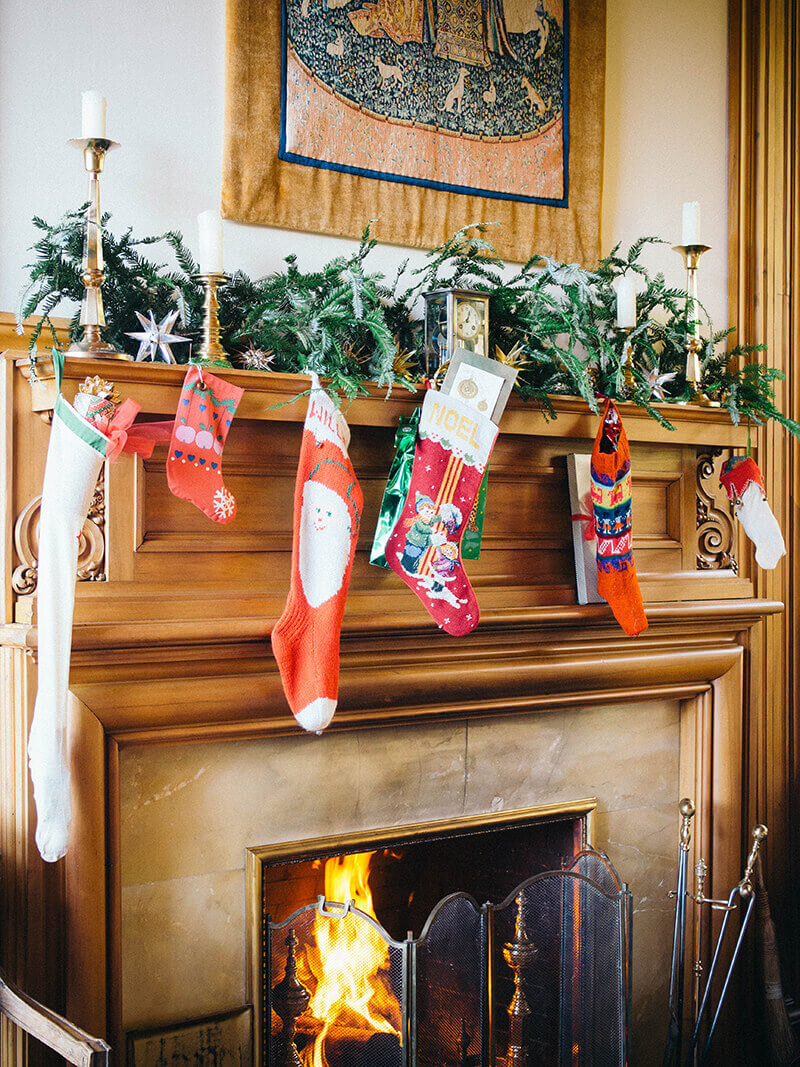 Christmas stockings over the fireplace