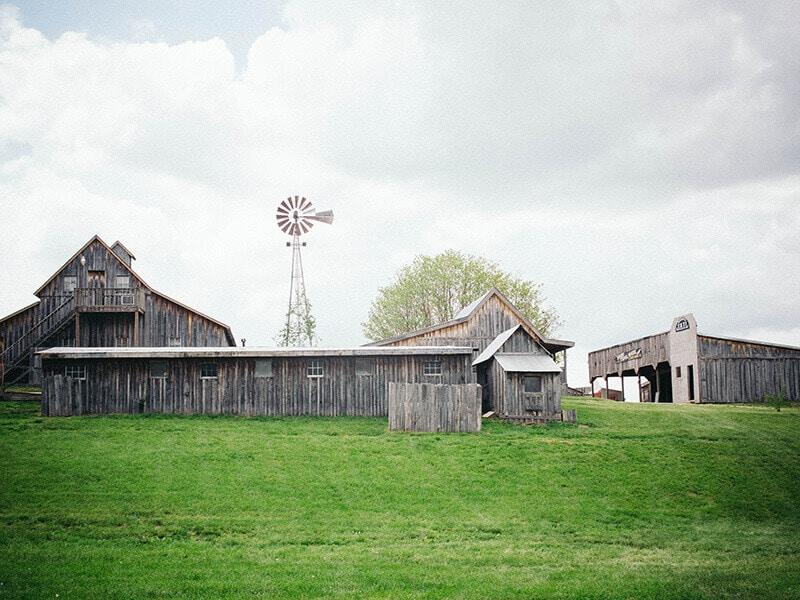 Rustic barns and buildings at Baker Creek