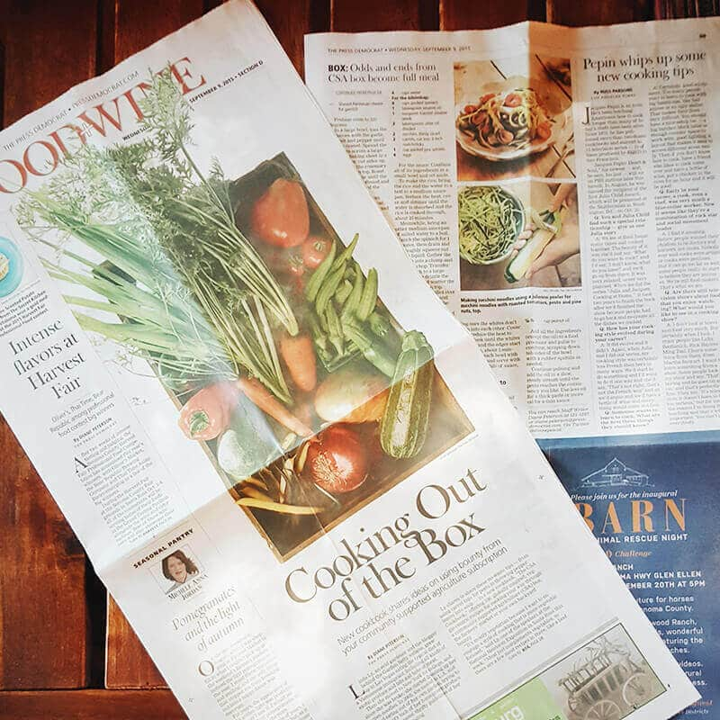 The CSA Cookbook featured on the front page of The Press Democrat's Food section