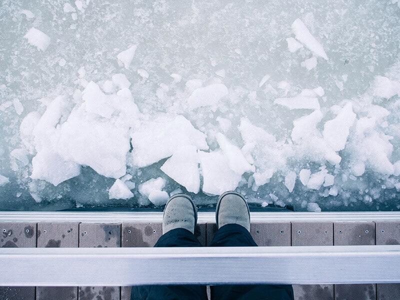 A frozen Big Bear Lake