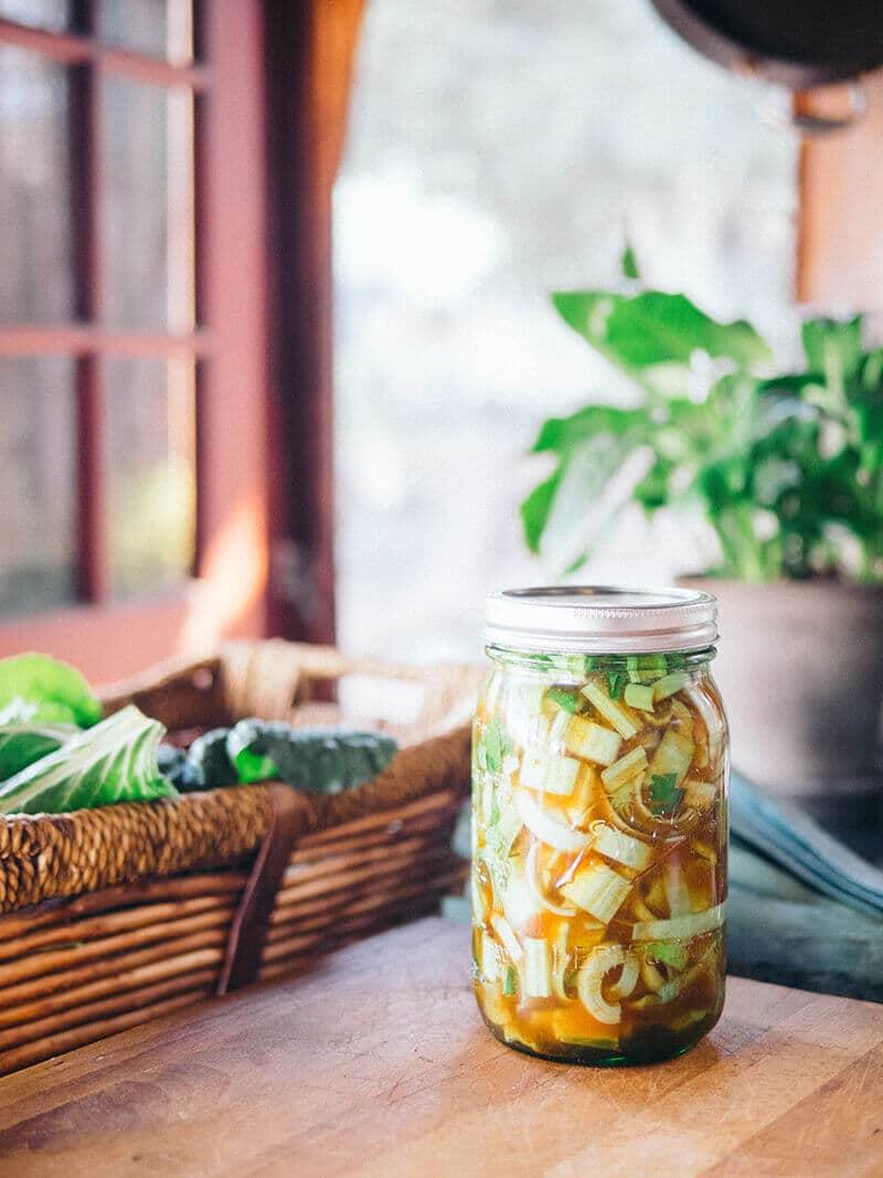 Sriracha stem pickles on Freshly Preserved Ideas
