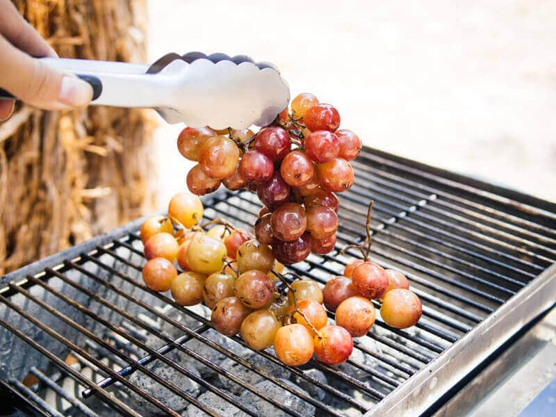 Grilling grapes for The New Camp Cookbook