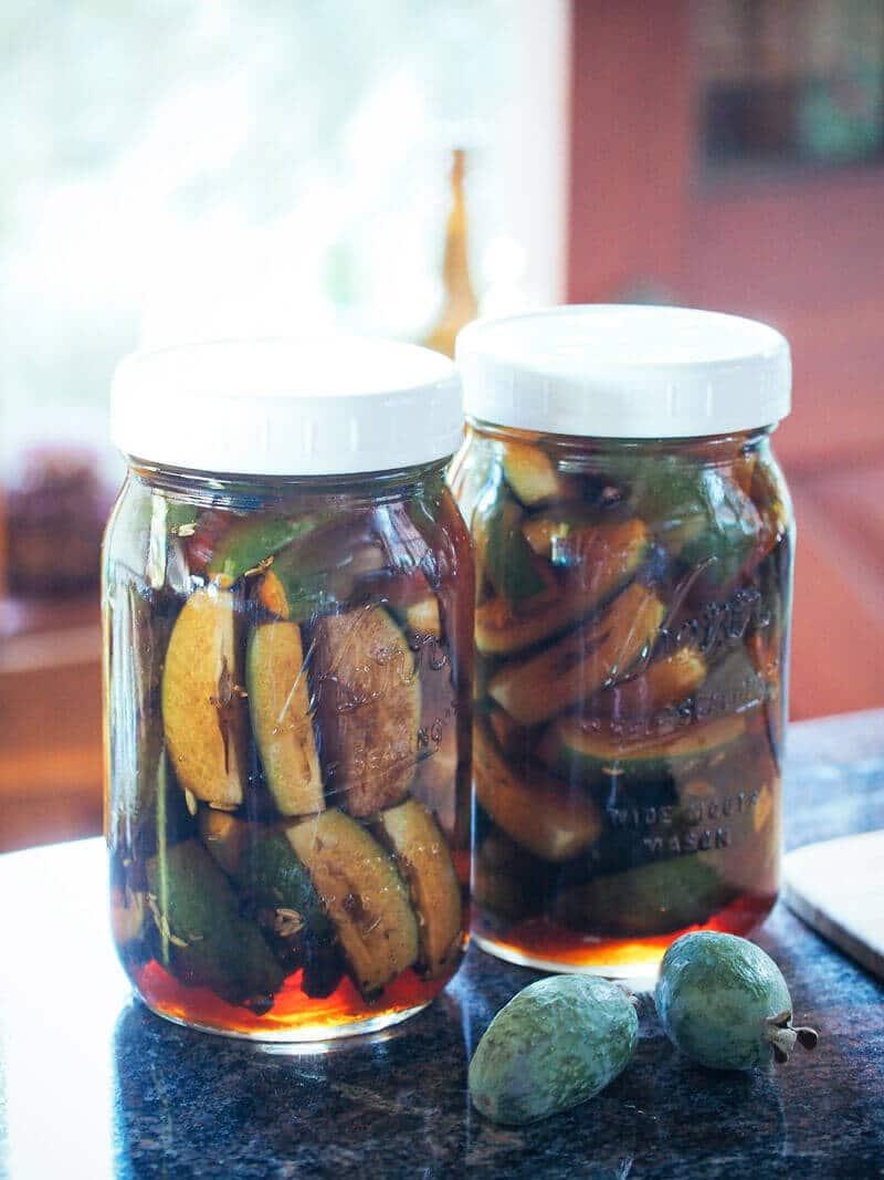 Salty sweet pickled feijoas