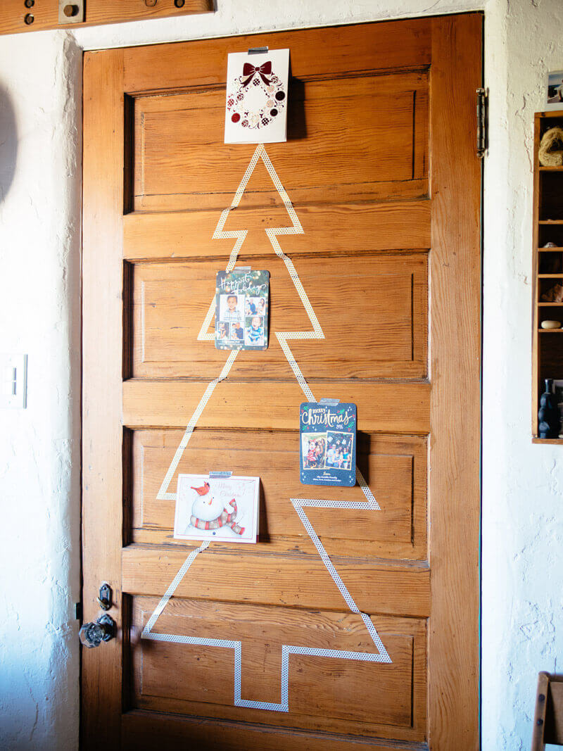 Washi tape tree with Christmas cards