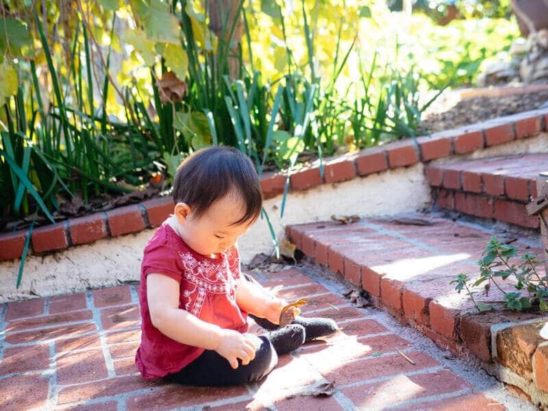 The garden is her playground