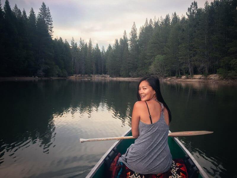 Canoeing at dusk