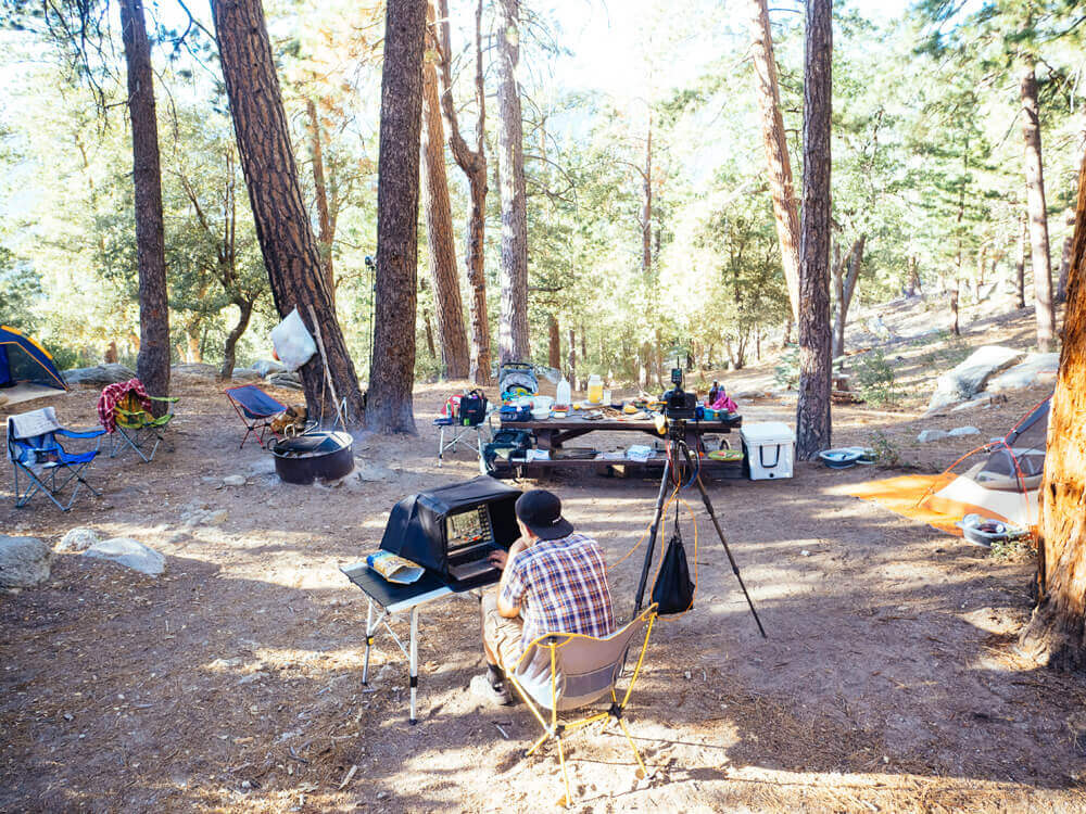 A typical on-location shoot for The New Camp Cookbook