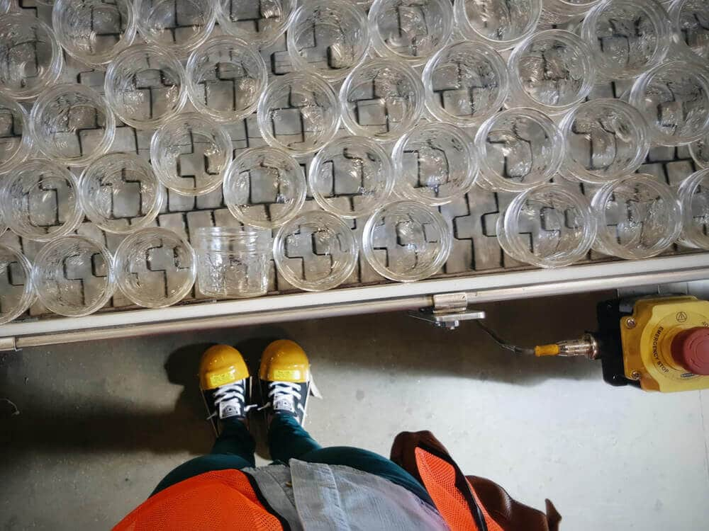 Ball jars on the assembly line