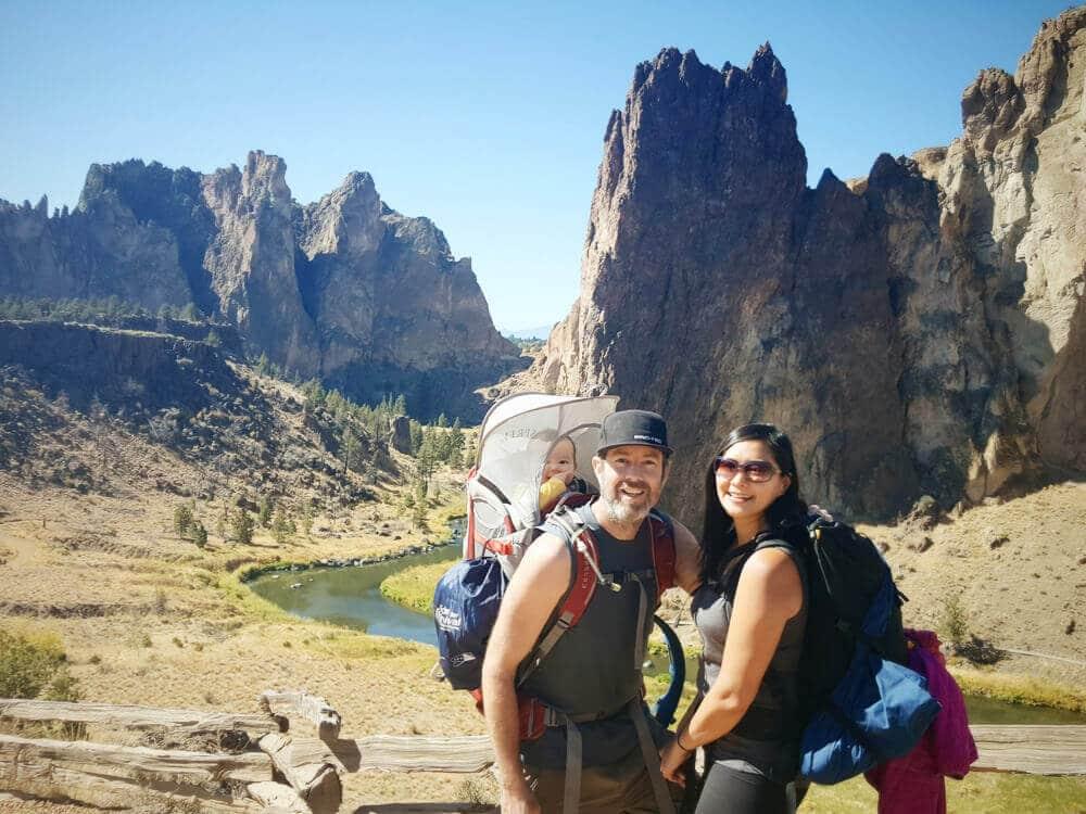 Cragging family in Smith Rock, Oregon