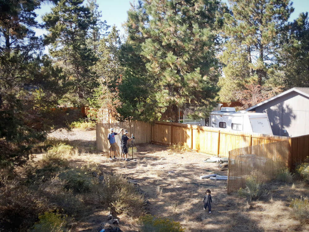 Building a chicken run in our new yard