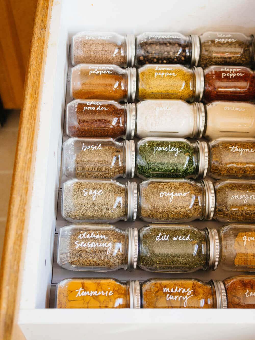 Simple spice drawer organization
