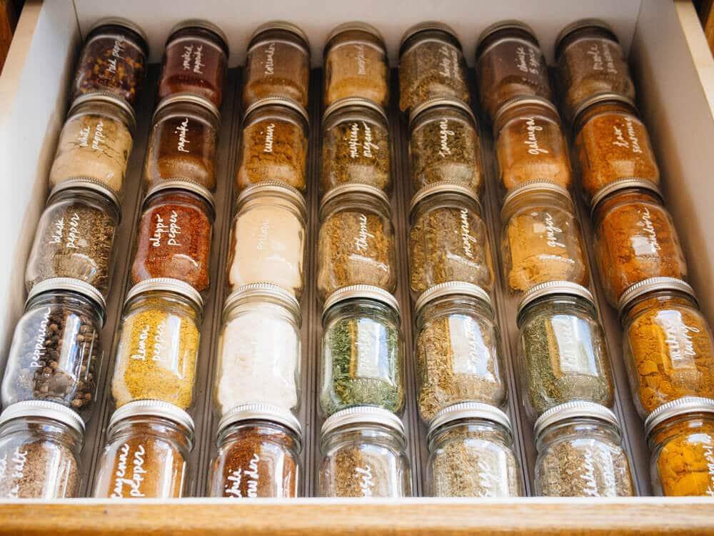 DIY spice drawer organization