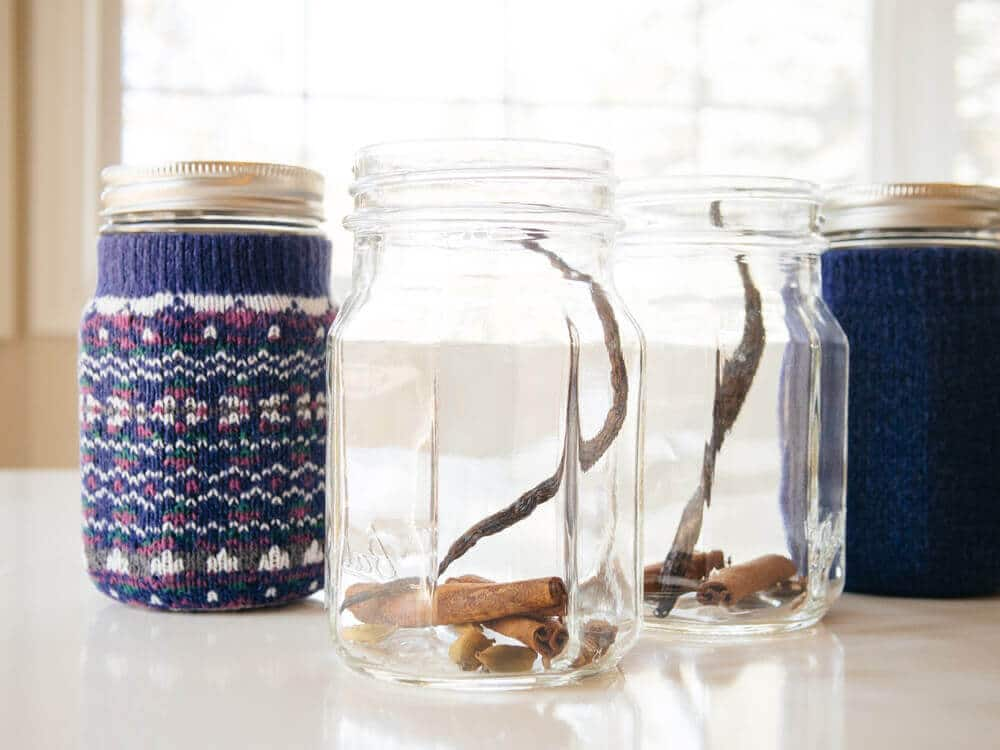 Jars filled with mulled cider spice mix
