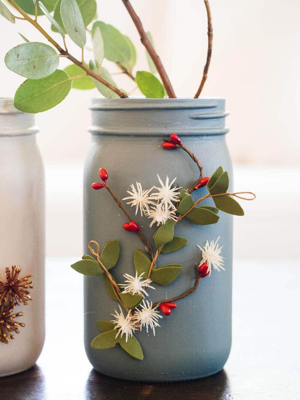 Festive decorations on mason jars