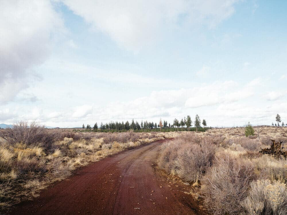 Red dirt road in a lava field