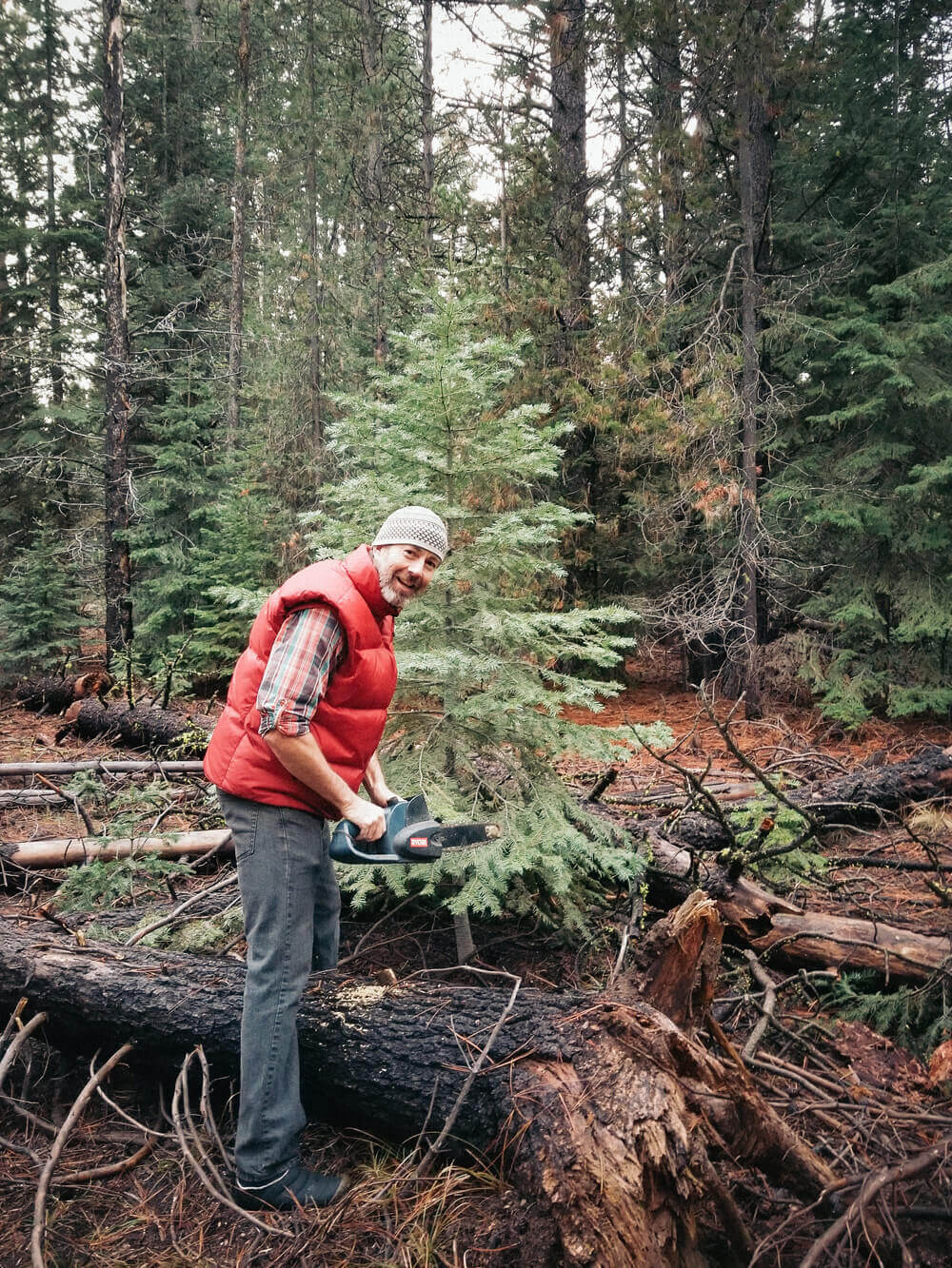 Cutting down our first Oregon Christmas tree