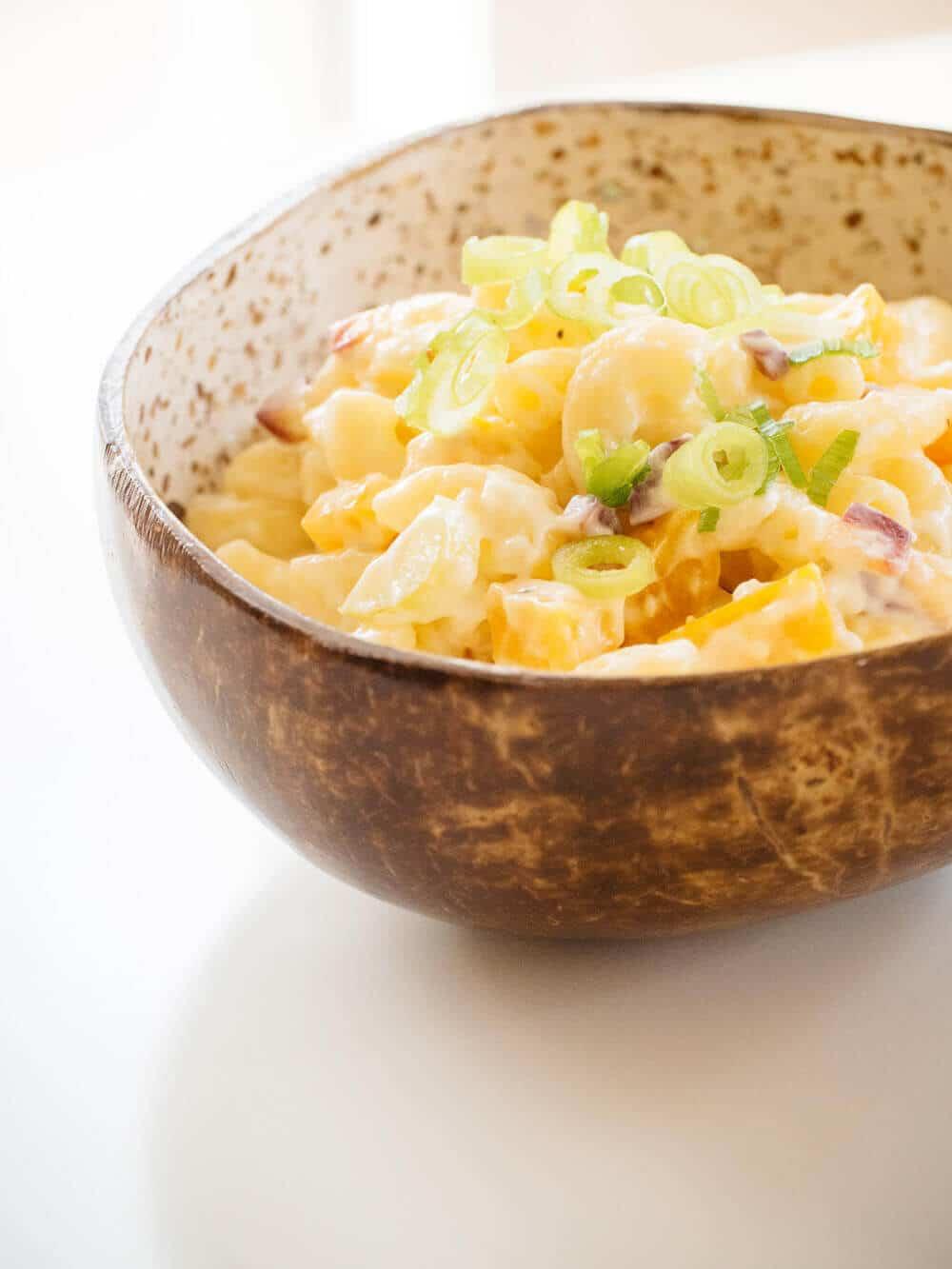 Hawaiian macaroni salad with pickled beets