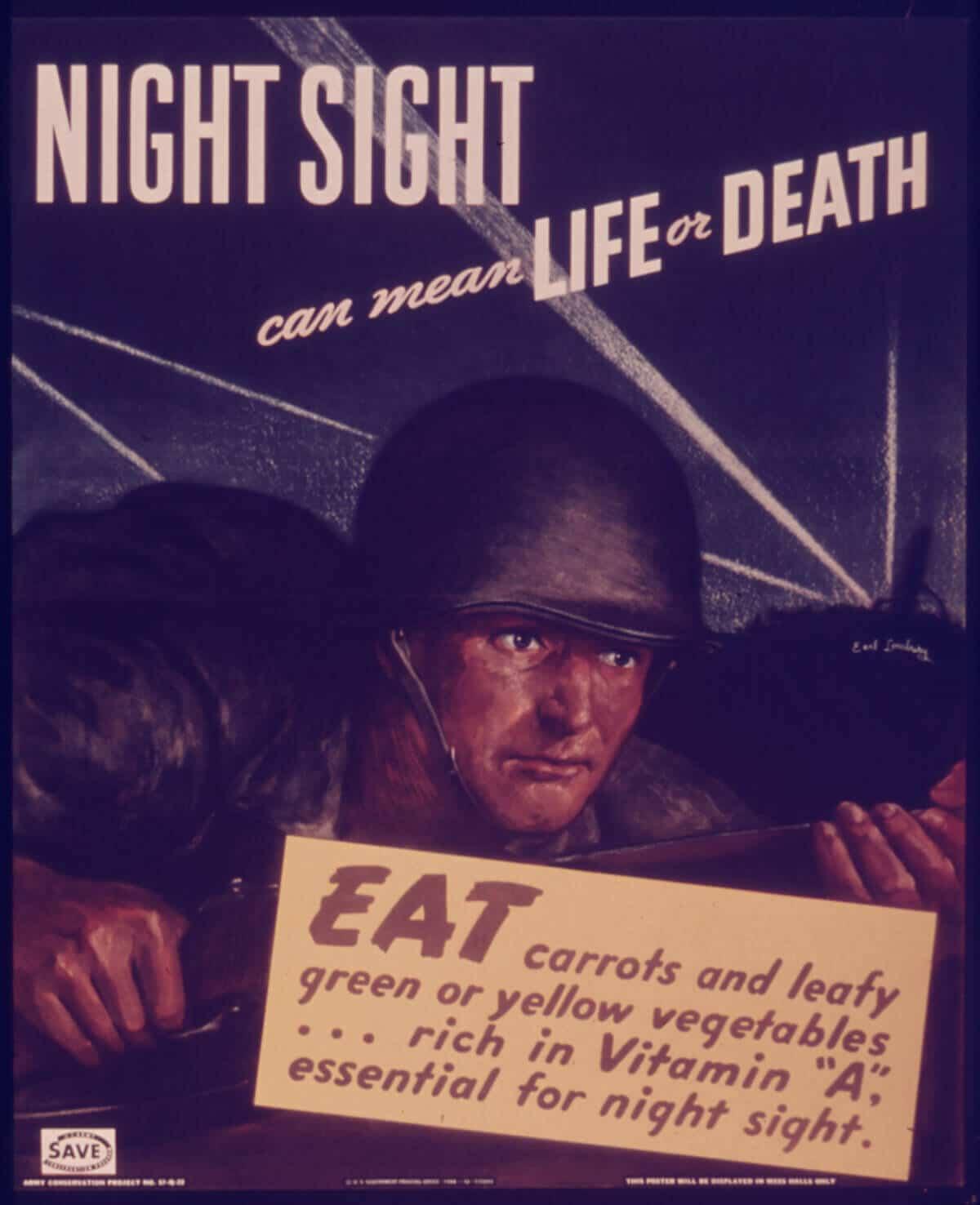 World War II British propaganda claimed carrots improve eyesight