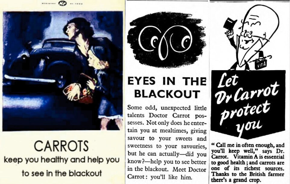 Propaganda posters that claim carrots can help night vision