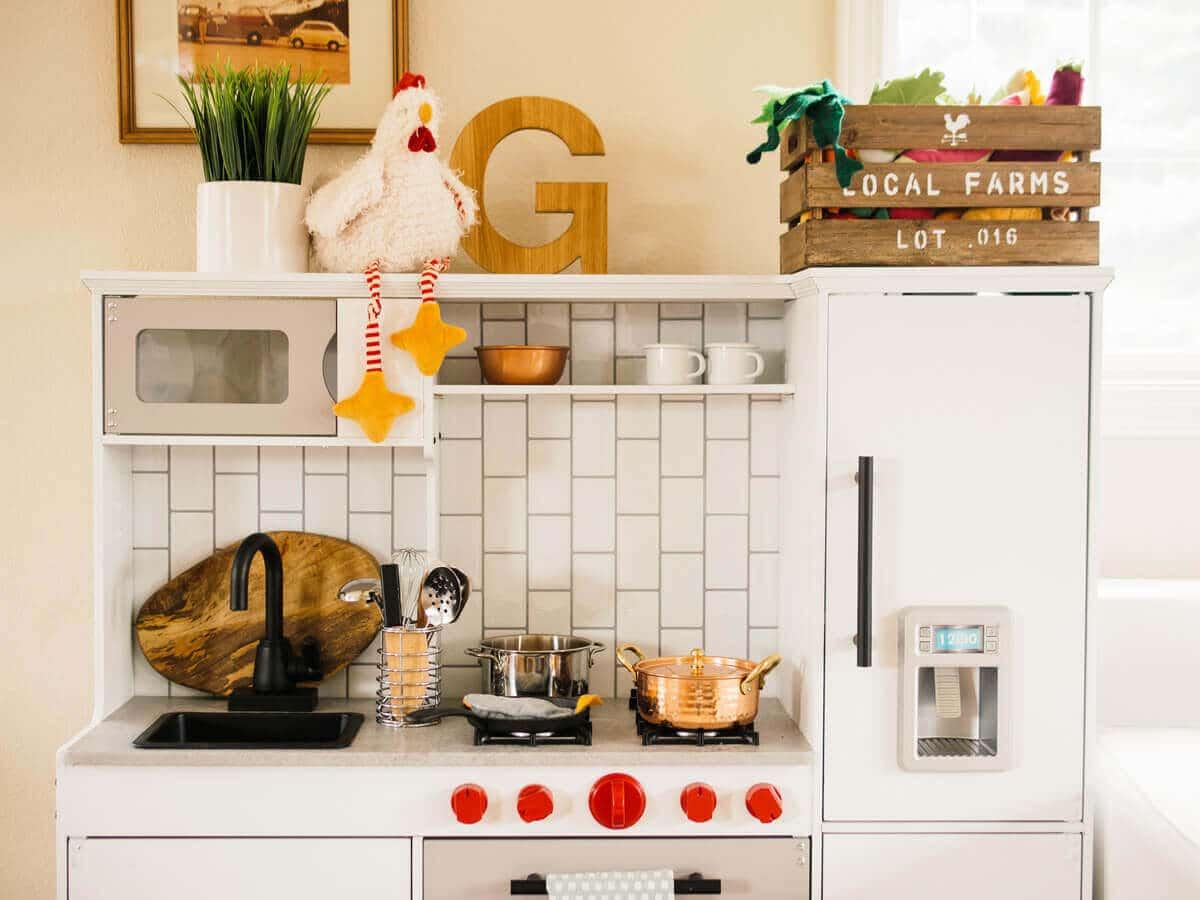 A modern-meets-rustic KidKraft kitchen makeover