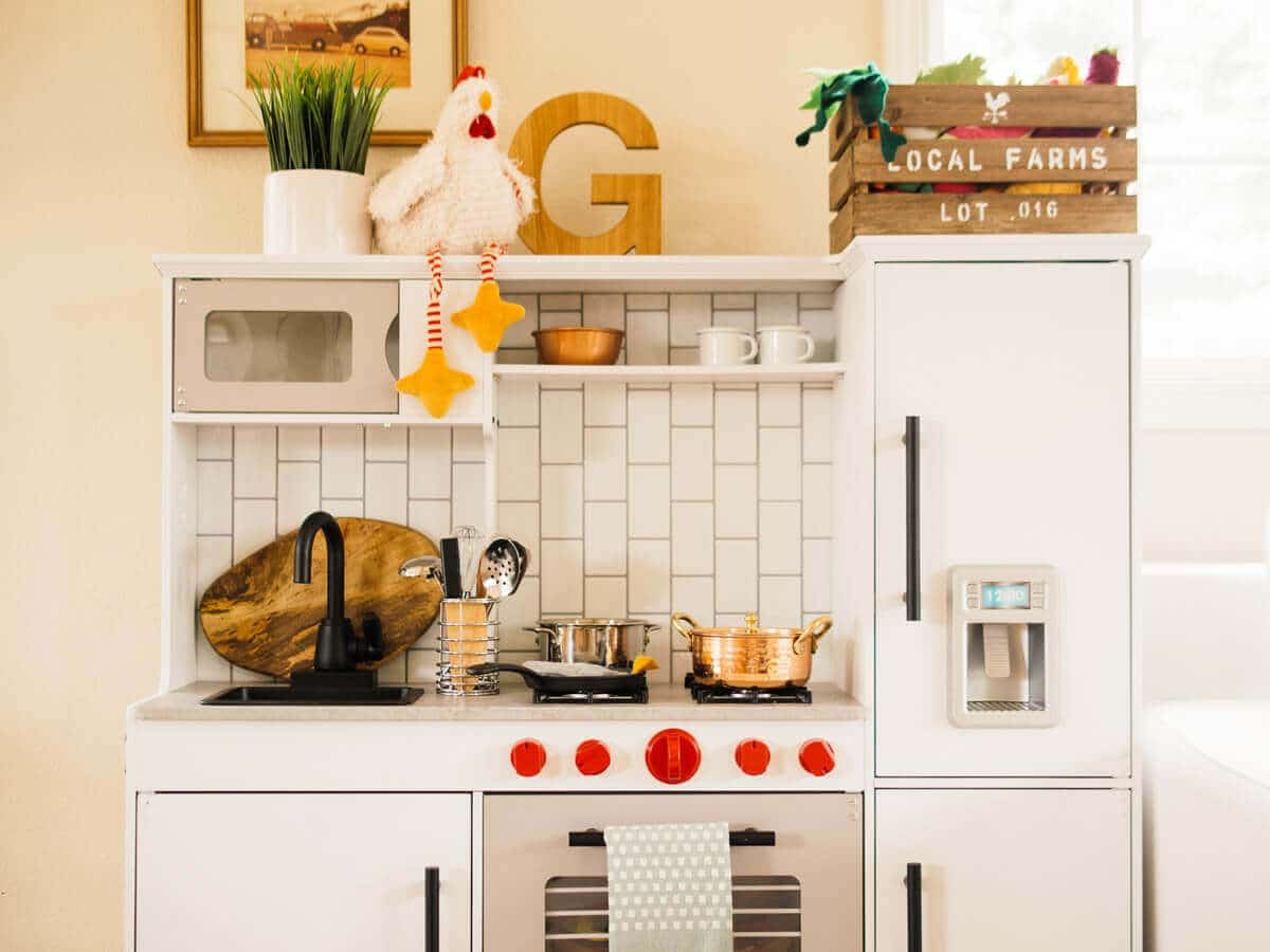 Airy, modern, and organic elements in a toddler play kitchen