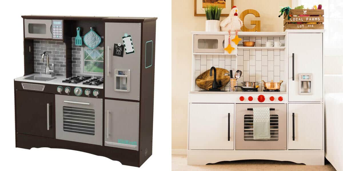 A KidKraft play kitchen makeover before and after