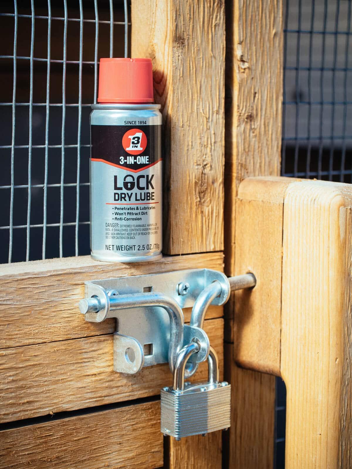 3-IN-ONE Lock Dry Lube helps loosen stuck locks