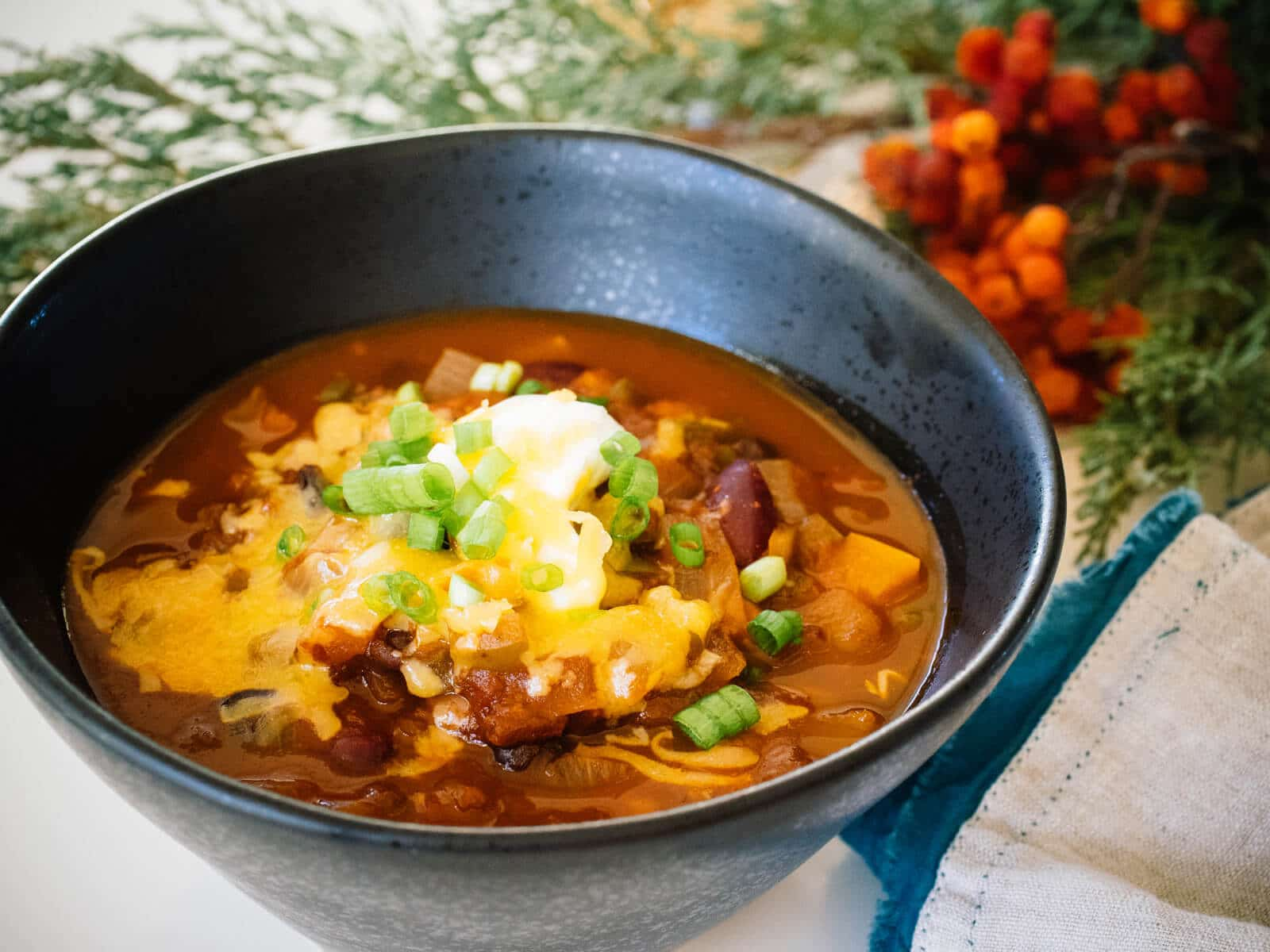 Three bean chili from The New Camp Cookbook