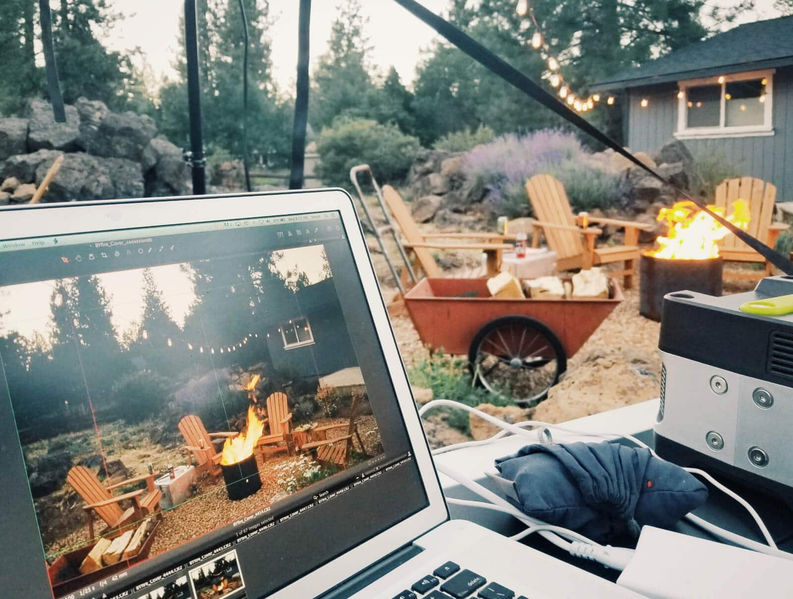 Behind the scenes of The Backyard Fire Cookbook cover shoot