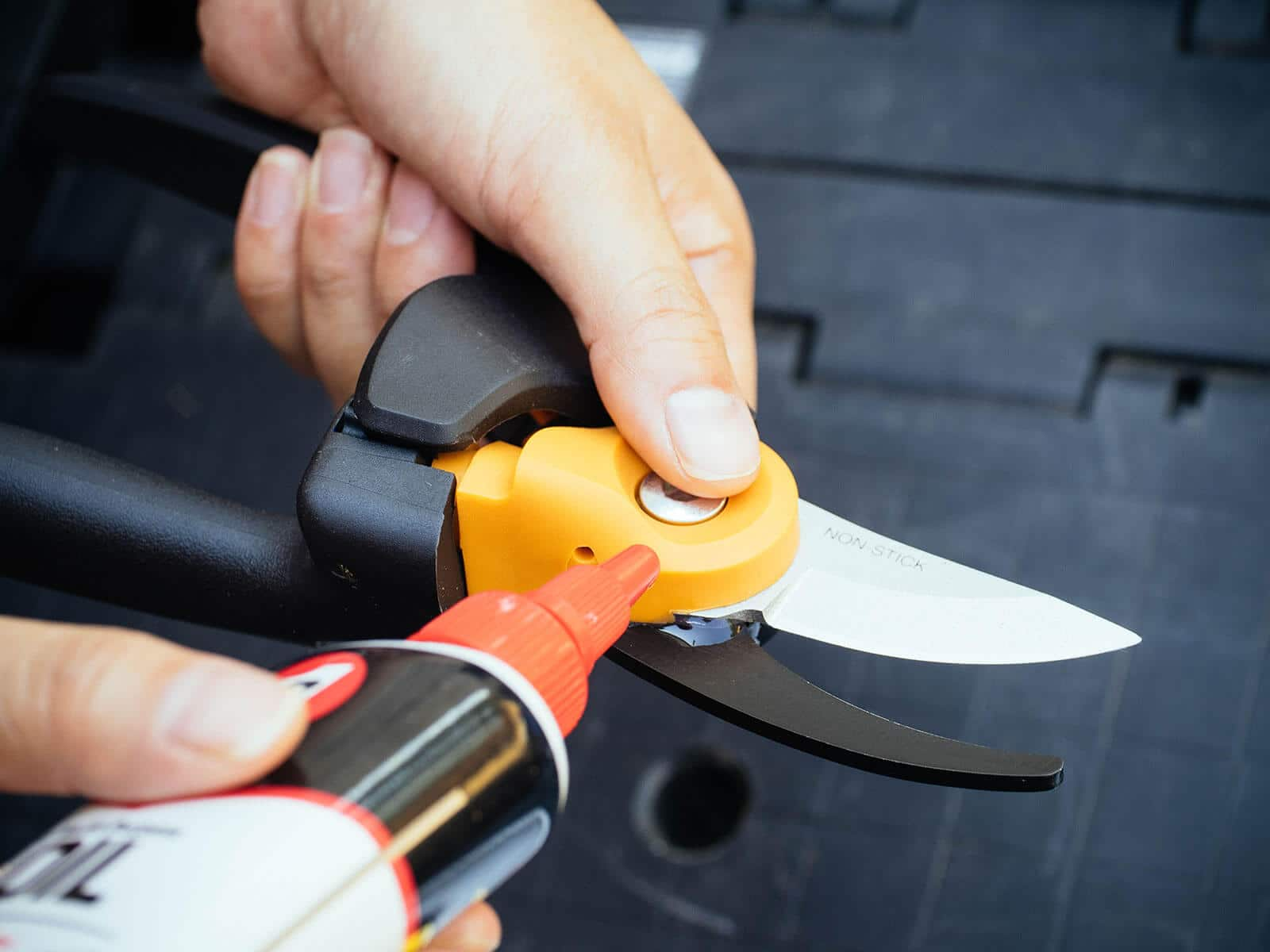 Hand squirting a few drops of 3-IN-ONE Multi-Purpose Oil in the pivot joint of a pair of garden pruners