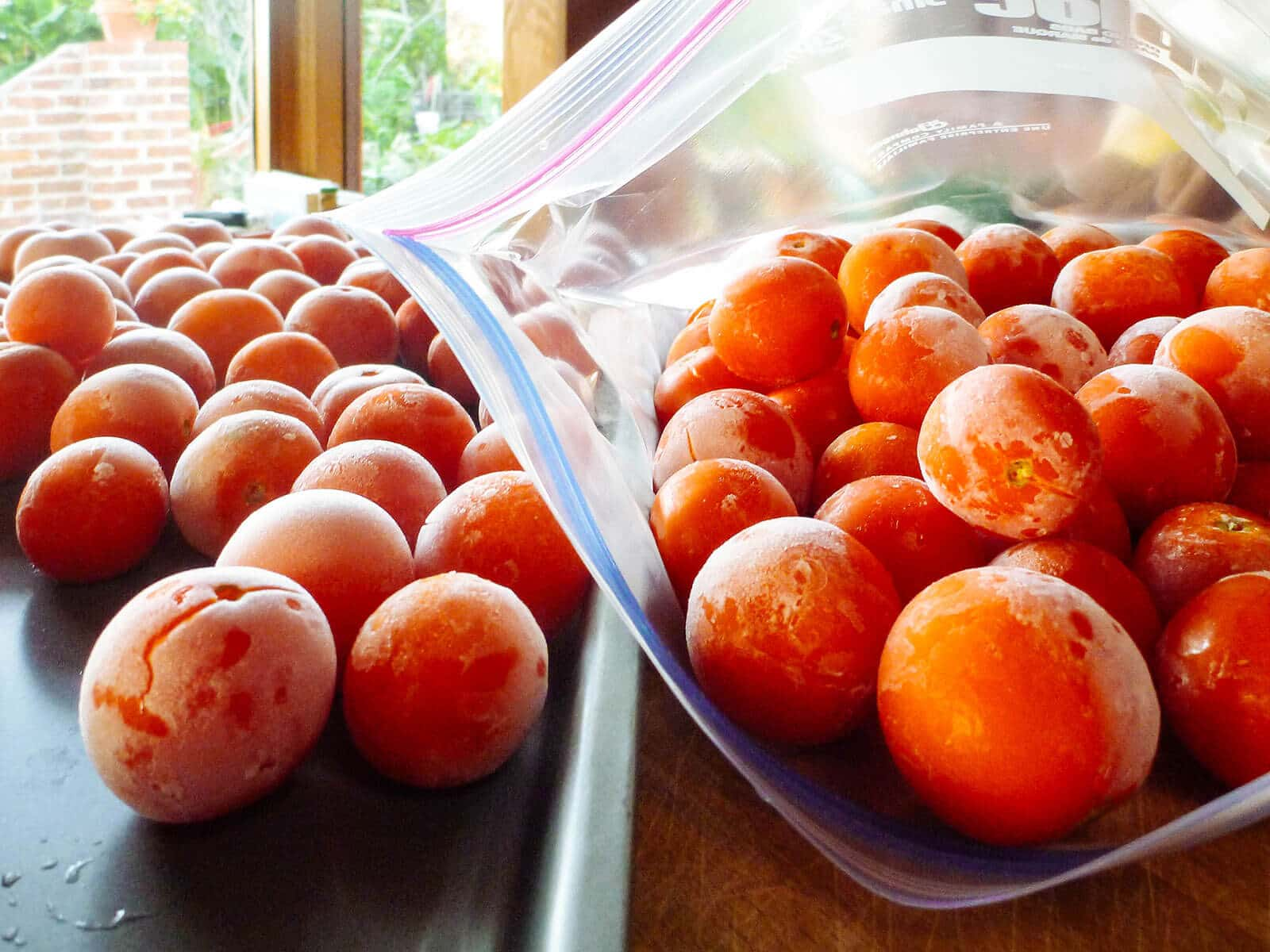 Baking sheet of frozen whole tomatoes next to Ziploc bag of frozen fresh tomatoes