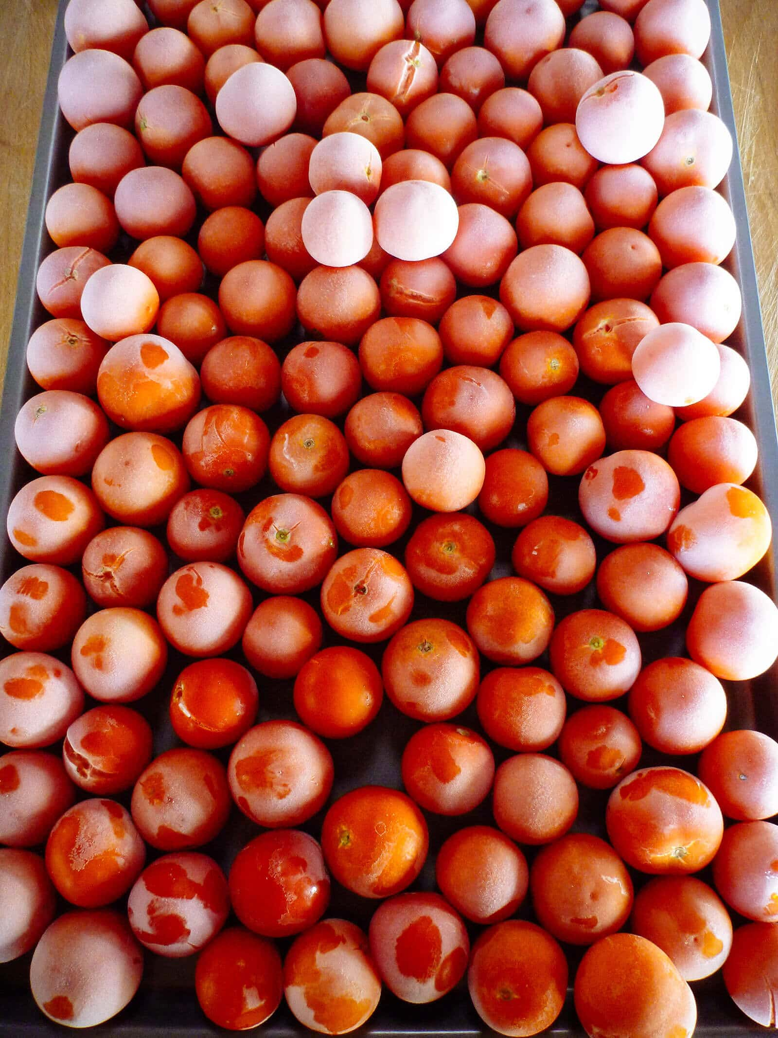 Overhead shot of frozen cherry tomatoes on a sheet pan