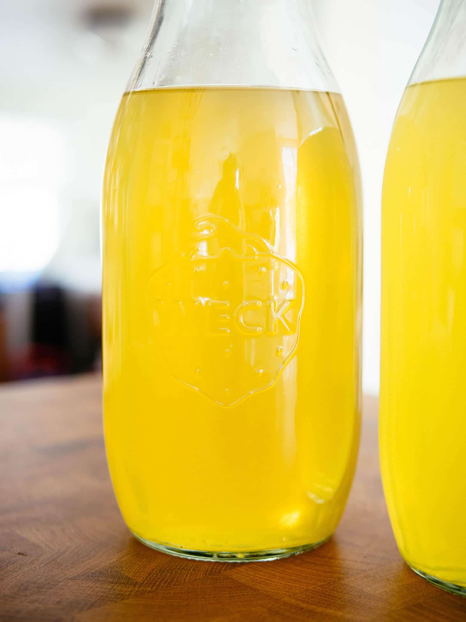 Homemade limoncello in Weck bottles