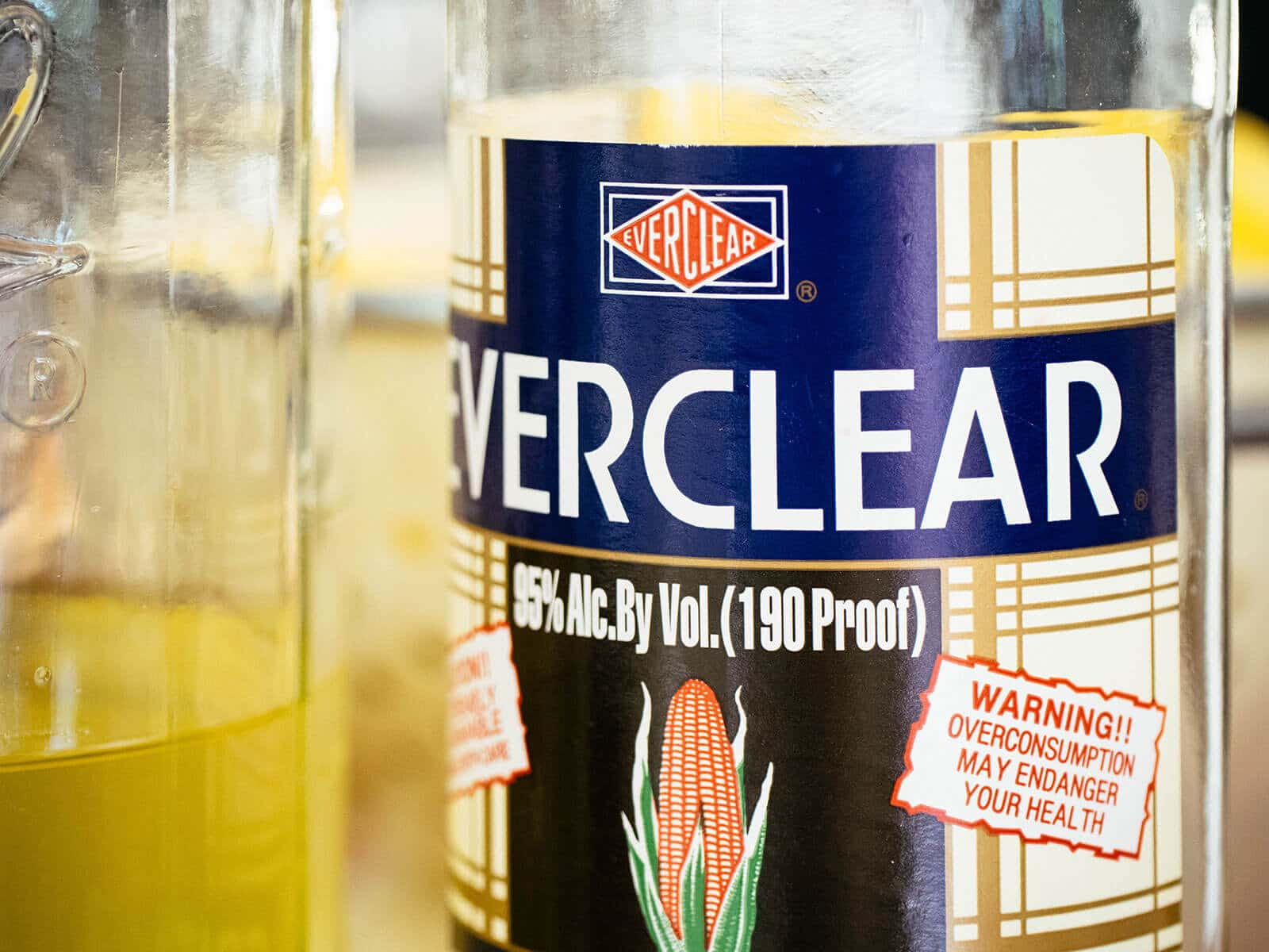 Close-up of Everclear bottle label